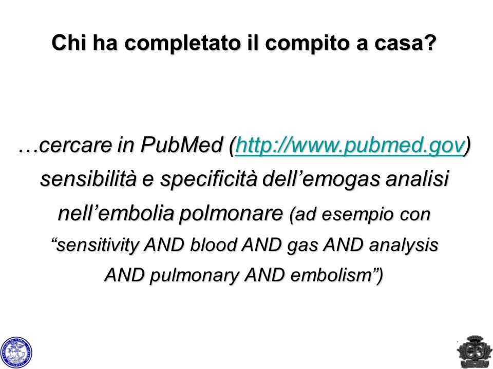 Chi ha completato il compito a casa? …cercare in PubMed (http://www.pubmed.gov) sensibilità e specificità dellemogas analisi nellembolia polmonare (ad