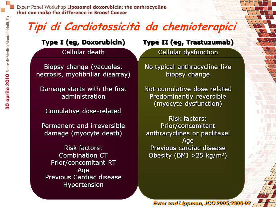 Type I (eg, Doxorubicin) Type II (eg, Trastuzumab) Cellular death Biopsy change (vacuoles, necrosis, myofibrillar disarray) Damage starts with the fir