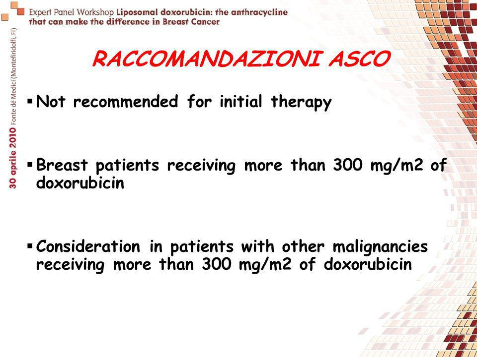 RACCOMANDAZIONI ASCO Not recommended for initial therapy Breast patients receiving more than 300 mg/m2 of doxorubicin Consideration in patients with o