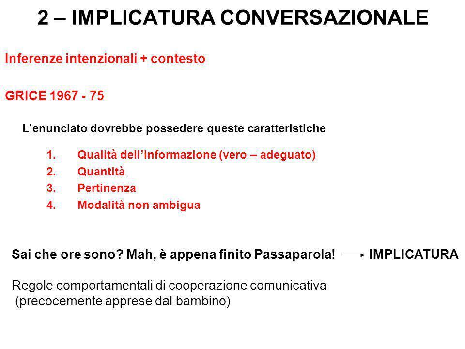 2 – IMPLICATURA CONVERSAZIONALE Inferenze intenzionali + contesto GRICE 1967 - 75 Lenunciato dovrebbe possedere queste caratteristiche 1.Qualità delli