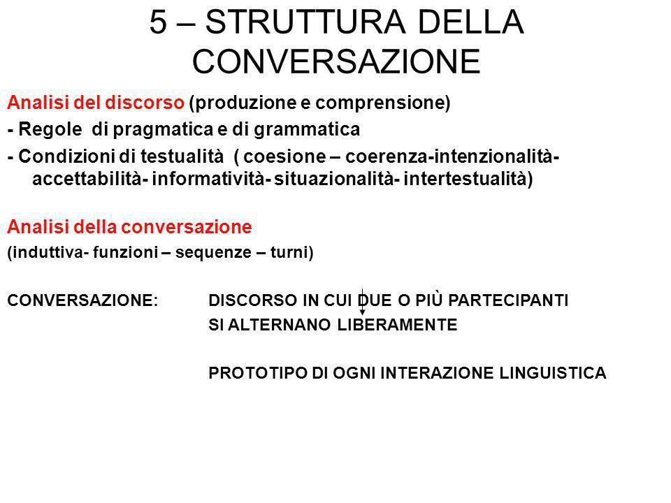 5 – STRUTTURA DELLA CONVERSAZIONE Analisi del discorso (produzione e comprensione) - Regole di pragmatica e di grammatica - Condizioni di testualità (