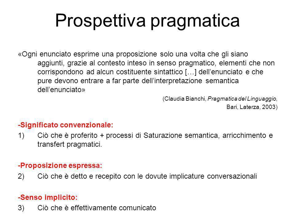 Prospettiva pragmatica «Ogni enunciato esprime una proposizione solo una volta che gli siano aggiunti, grazie al contesto inteso in senso pragmatico, elementi che non corrispondono ad alcun costituente sintattico […] dellenunciato e che pure devono entrare a far parte dellinterpretazione semantica dellenunciato» (Claudia Bianchi, Pragmatica del Linguaggio, Bari, Laterza, 2003) -Significato convenzionale: 1)Ciò che è proferito + processi di Saturazione semantica, arricchimento e transfert pragmatici.