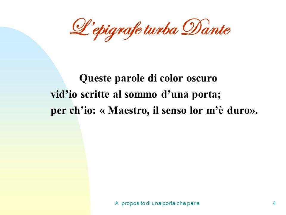 A proposito di una porta che parla4 Lepigrafe turba Dante Queste parole di color oscuro vidio scritte al sommo duna porta; per chio: « Maestro, il sen