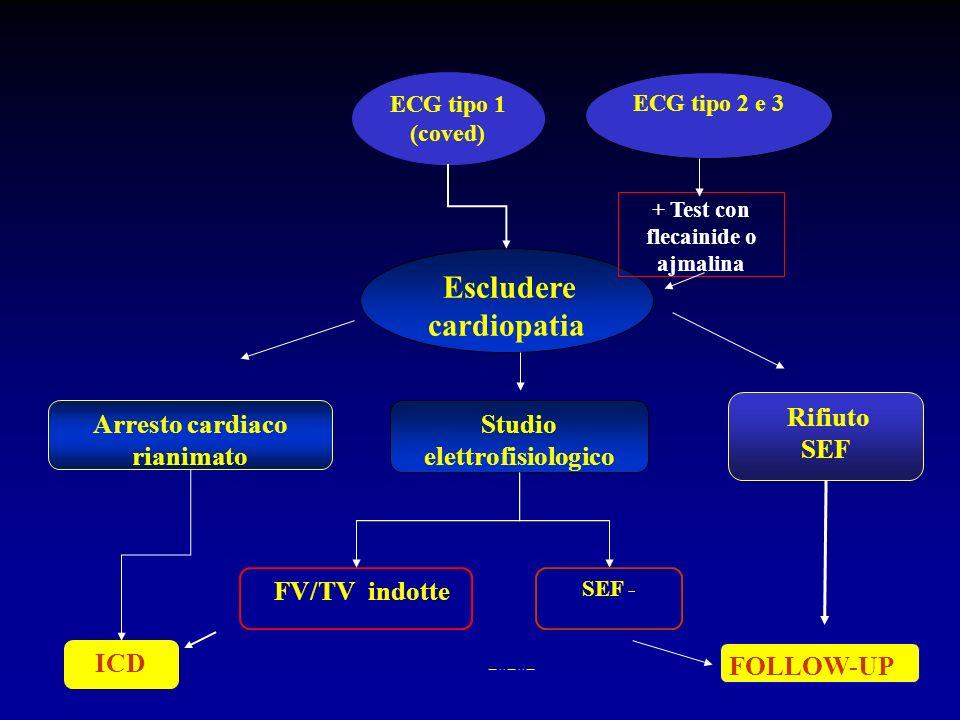 Escludere cardiopatia Studio elettrofisiologico SEF - Arresto cardiaco rianimato FV/TV indotte Rifiuto SEF ICD FOLLOW-UP ECG tipo 1 (coved) ECG tipo 2