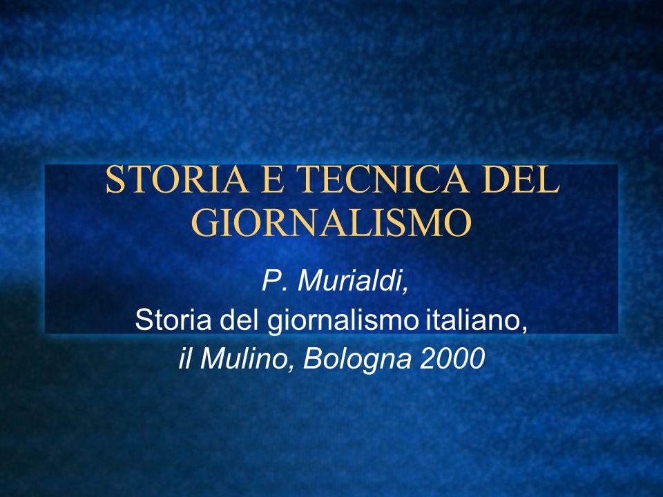 STORIA E TECNICA DEL GIORNALISMO P.