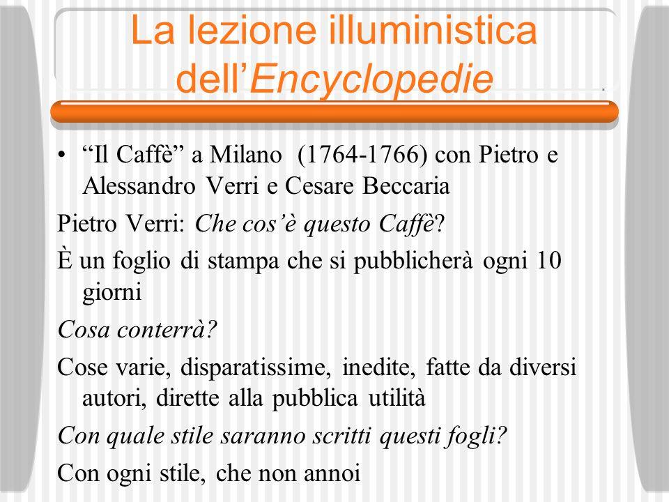 La lezione illuministica dellEncyclopedie Il Caffè a Milano (1764-1766) con Pietro e Alessandro Verri e Cesare Beccaria Pietro Verri: Che cosè questo Caffè.