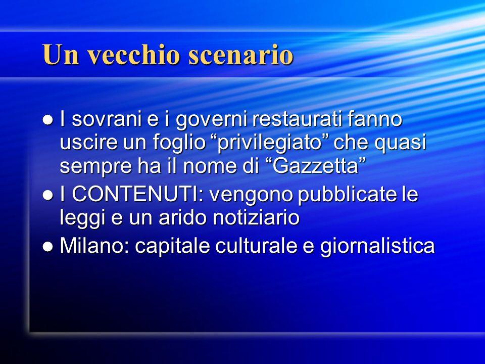 Statuto Albertino ed Editto sulla stampa Importanza basilare per la stampa italiana (rimarrà in vigore dopo lUnità dItalia) Art.