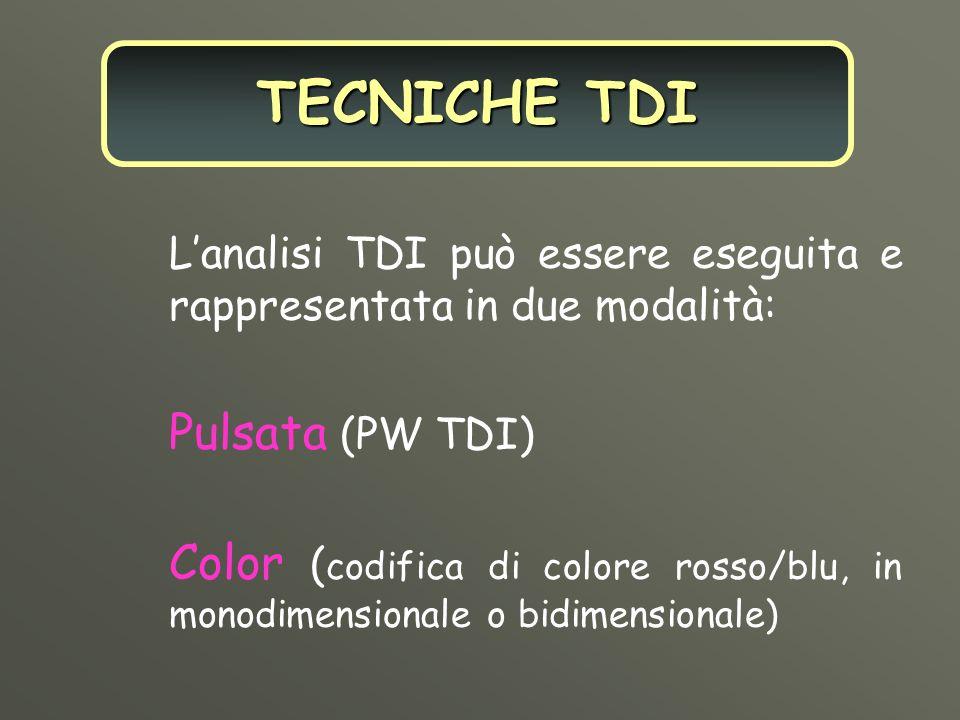 Lanalisi TDI può essere eseguita e rappresentata in due modalità: Pulsata (PW TDI) Color ( codifica di colore rosso/blu, in monodimensionale o bidimen