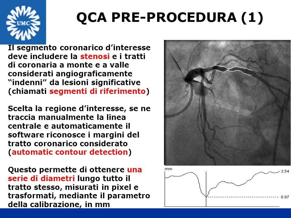 QCA PRE-PROCEDURA (1) Il segmento coronarico dinteresse deve includere la stenosi e i tratti di coronaria a monte e a valle considerati angiograficame