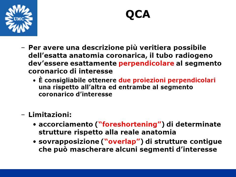 –Per avere una descrizione più veritiera possibile dellesatta anatomia coronarica, il tubo radiogeno devessere esattamente perpendicolare al segmento