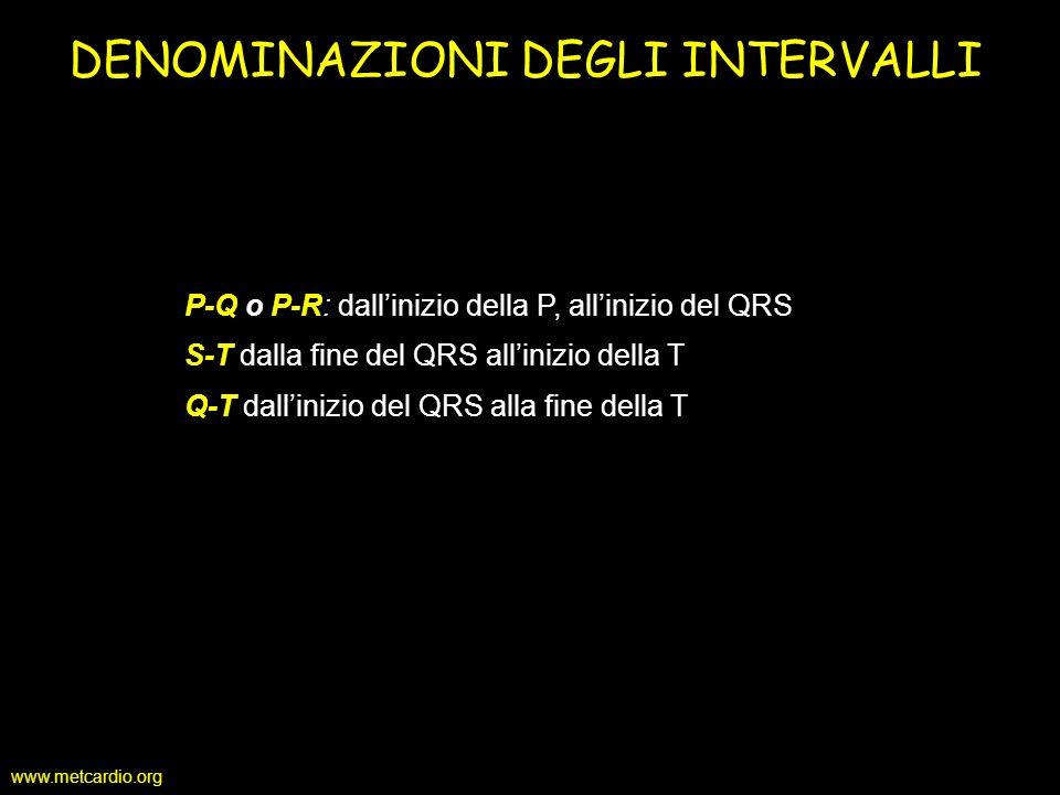www.metcardio.org P-Q o P-R: dallinizio della P, allinizio del QRS S-T dalla fine del QRS allinizio della T Q-T dallinizio del QRS alla fine della T D