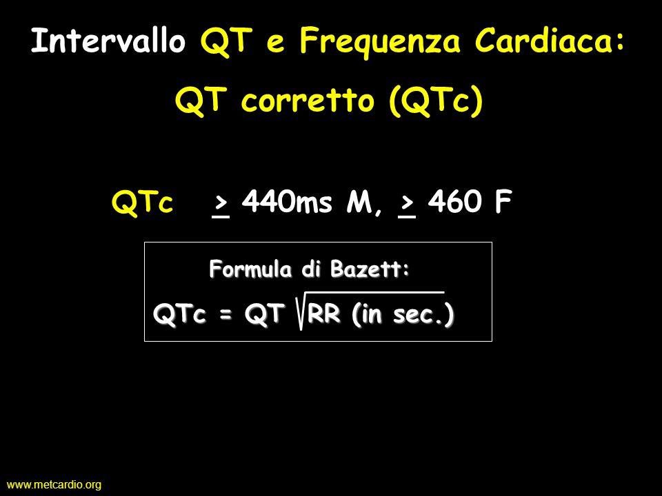 www.metcardio.org Intervallo QT e Frequenza Cardiaca: QT corretto (QTc) Intervallo QT e Frequenza Cardiaca: QT corretto (QTc) QTc > 440ms M, > 460 F Q
