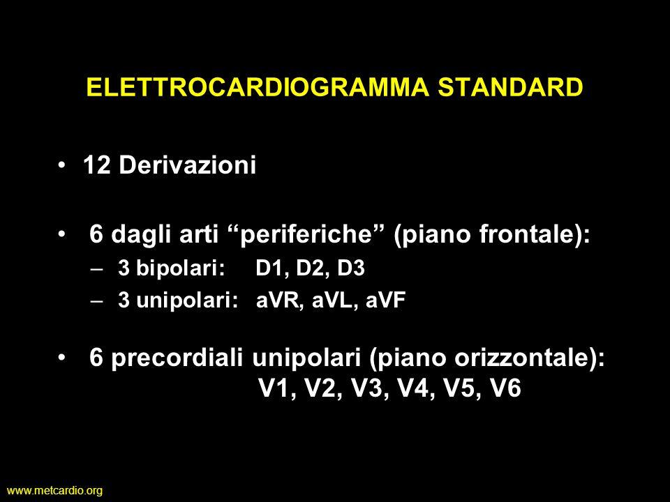 www.metcardio.org Derivazioni Bipolari D1 (Lead I) registra il potenziale tra il braccio destro e quello sinistro (positivo) D2 (Lead II) registra il potenziale tra il braccio destro e la gamba sinistra D3 (Lead III) registra il potenziale tra il braccio sinistro e la gamba sinistra