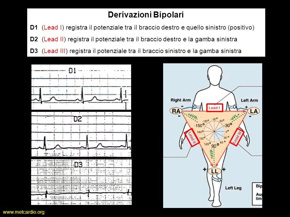 www.metcardio.org Derivazioni Bipolari D1 (Lead I) registra il potenziale tra il braccio destro e quello sinistro (positivo) D2 (Lead II) registra il