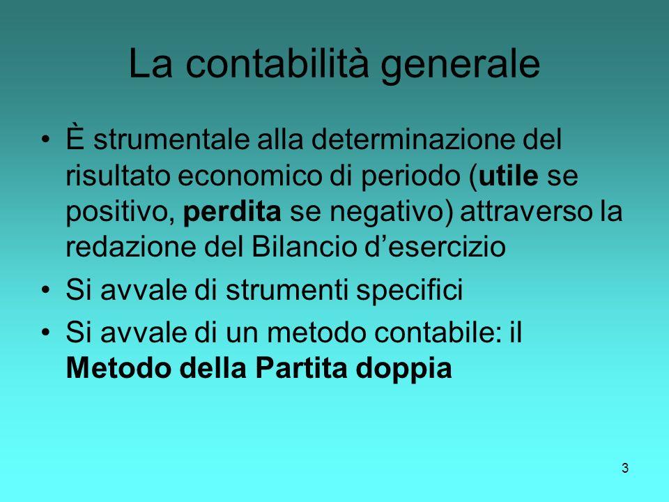 3 La contabilità generale È strumentale alla determinazione del risultato economico di periodo (utile se positivo, perdita se negativo) attraverso la
