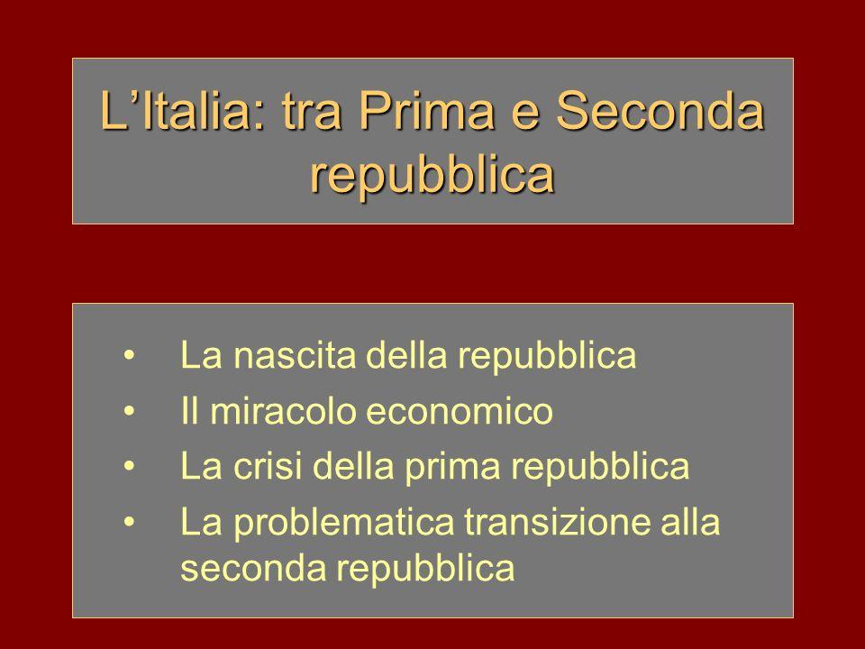 LItalia: tra Prima e Seconda repubblica La nascita della repubblica Il miracolo economico La crisi della prima repubblica La problematica transizione