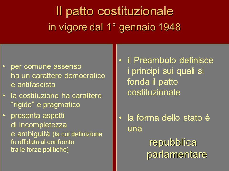 Il patto costituzionale in vigore dal 1° gennaio 1948 per comune assenso ha un carattere democratico e antifascista la costituzione ha carattere rigid