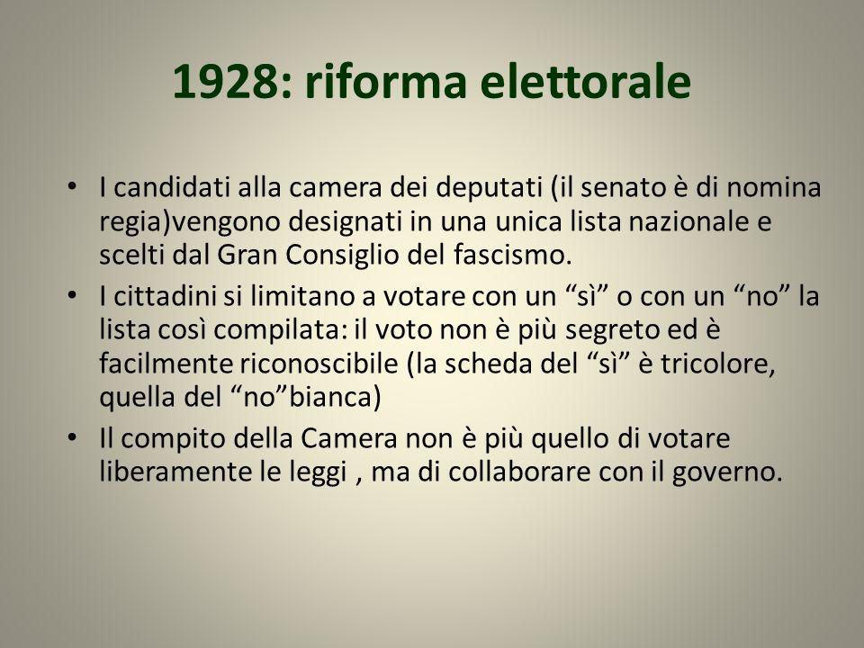 1928: riforma elettorale I candidati alla camera dei deputati (il senato è di nomina regia)vengono designati in una unica lista nazionale e scelti dal