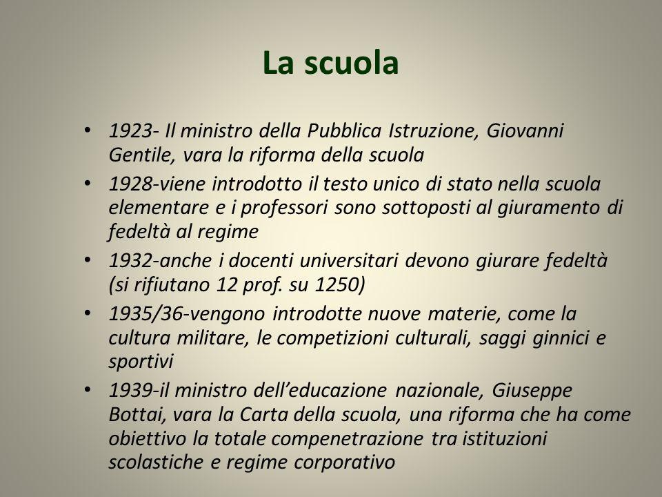 La scuola 1923- Il ministro della Pubblica Istruzione, Giovanni Gentile, vara la riforma della scuola 1928-viene introdotto il testo unico di stato ne