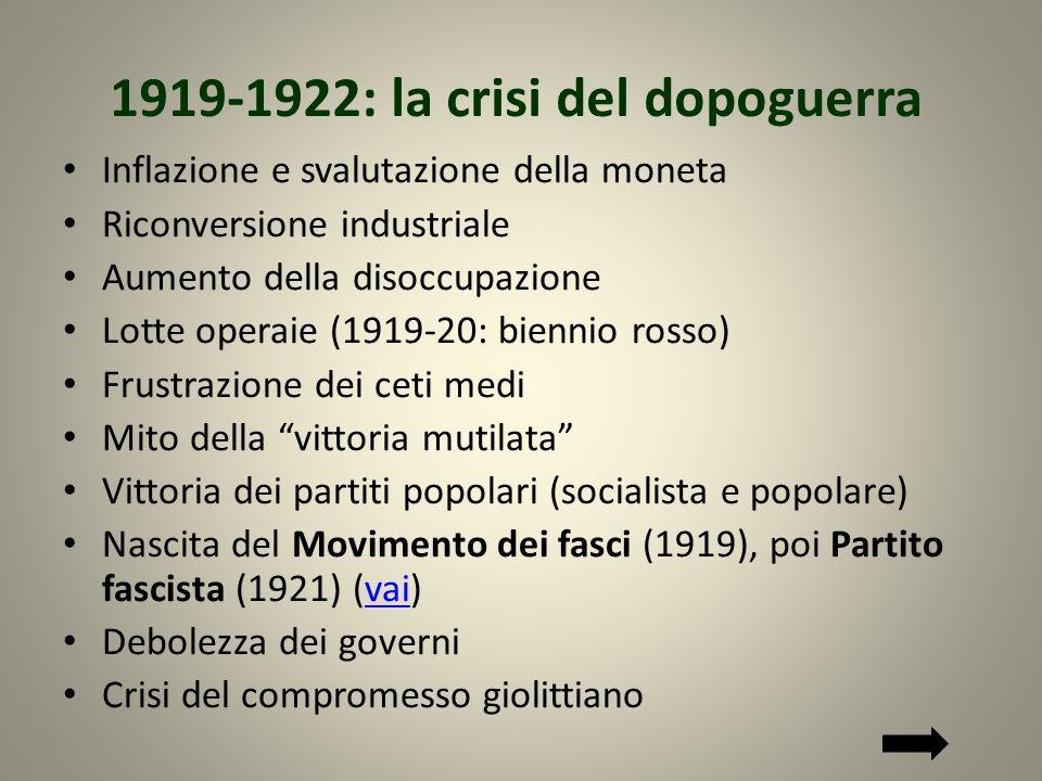 1919-1922: la crisi del dopoguerra Inflazione e svalutazione della moneta Riconversione industriale Aumento della disoccupazione Lotte operaie (1919-2