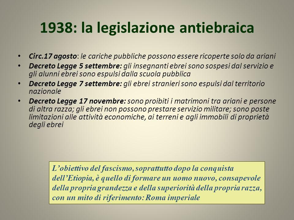 1938: la legislazione antiebraica Circ.17 agosto: le cariche pubbliche possono essere ricoperte solo da ariani Decreto Legge 5 settembre: gli insegnan