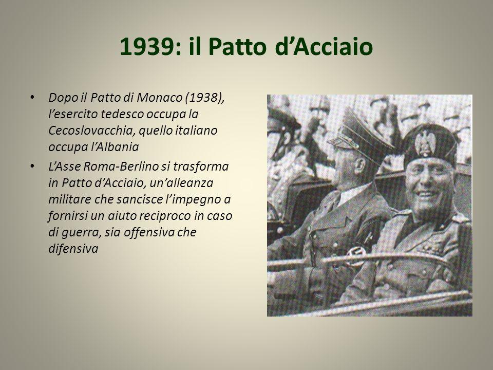 1939: il Patto dAcciaio Dopo il Patto di Monaco (1938), lesercito tedesco occupa la Cecoslovacchia, quello italiano occupa lAlbania LAsse Roma-Berlino