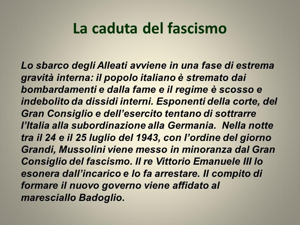 La caduta del fascismo Lo sbarco degli Alleati avviene in una fase di estrema gravità interna: il popolo italiano è stremato dai bombardamenti e dalla