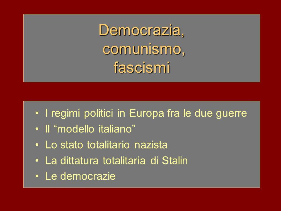 I regimi politici in Europa tra le due guerre Tra le due guerre mondiali la crisi dei sistemi liberali e democratici comportò: –laffermazione di regimi autoritari e dittatoriali (fascismo e nazismo) –il consolidamento del comunismo in URSS Totalitarismo: categoria storiografica per definire dittature diverse tra loro quali: –il fascismo in Italia –il nazismo in Germania –la dittatura di Stalin in URSS