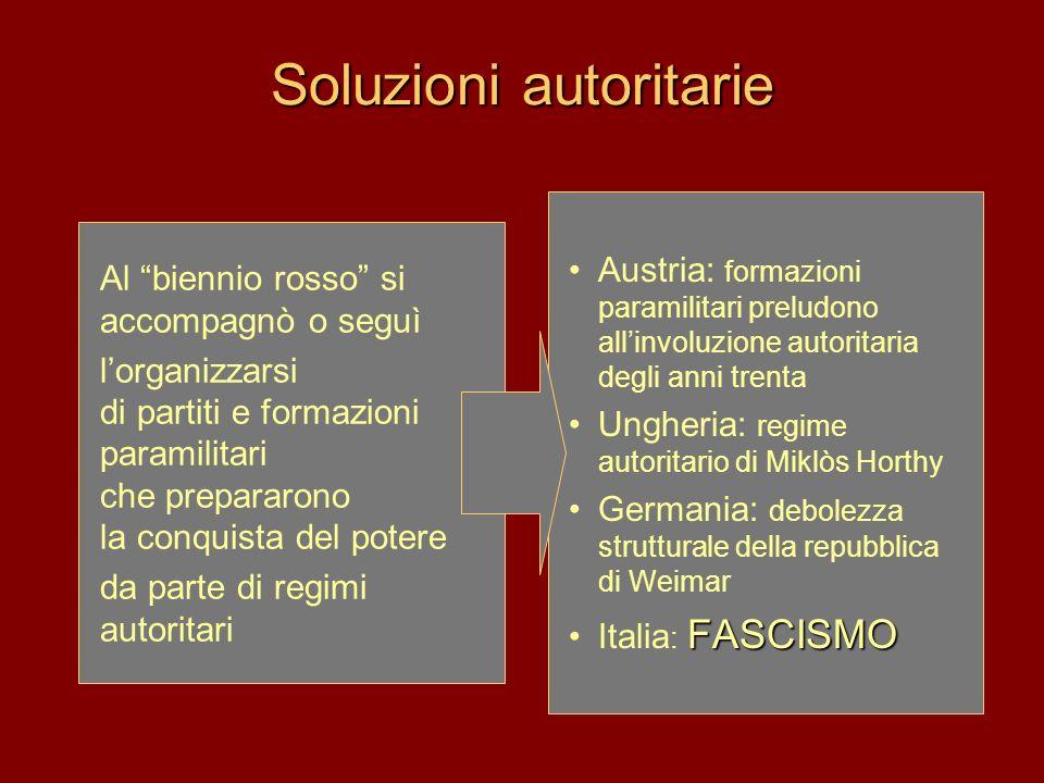 Soluzioni autoritarie Austria: formazioni paramilitari preludono allinvoluzione autoritaria degli anni trenta Ungheria: regime autoritario di Miklòs H