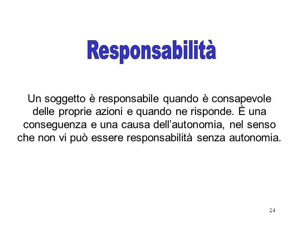 24 Un soggetto è responsabile quando è consapevole delle proprie azioni e quando ne risponde. È una conseguenza e una causa dellautonomia, nel senso c