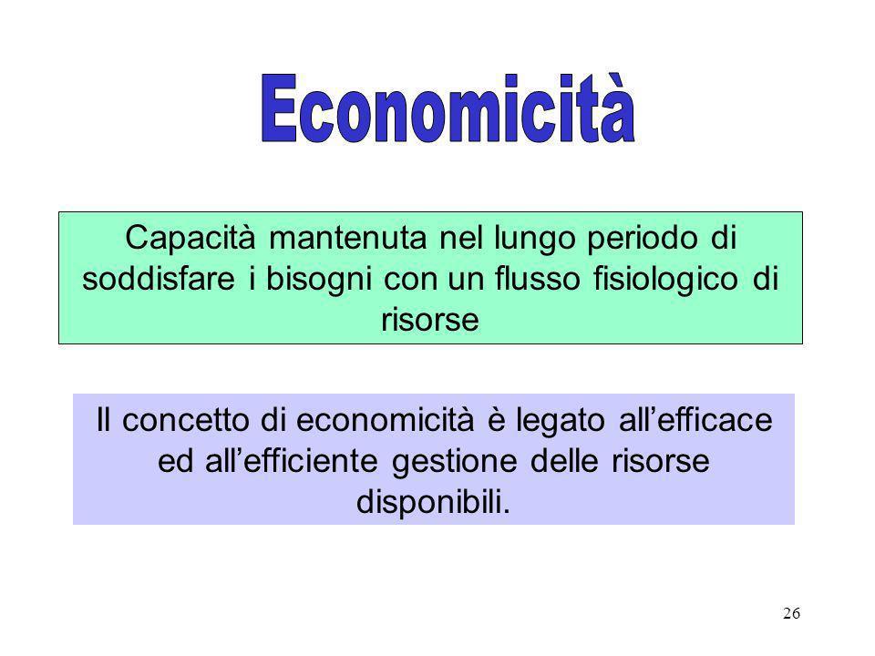 26 Capacità mantenuta nel lungo periodo di soddisfare i bisogni con un flusso fisiologico di risorse Il concetto di economicità è legato allefficace e