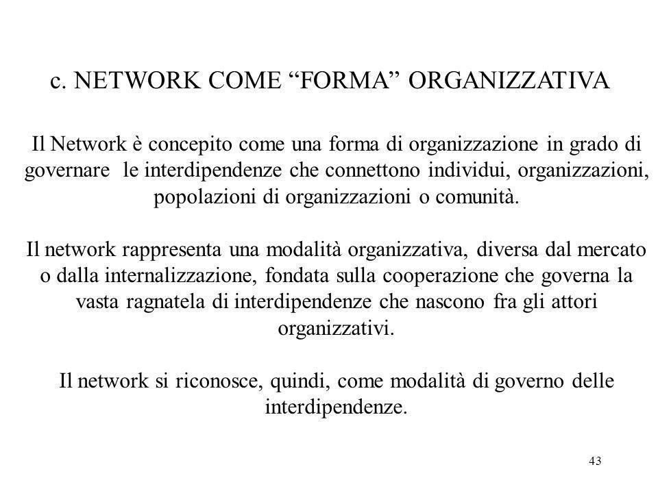 43 c. NETWORK COME FORMA ORGANIZZATIVA Il Network è concepito come una forma di organizzazione in grado di governare le interdipendenze che connettono