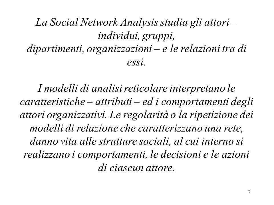 7 La Social Network Analysis studia gli attori – individui, gruppi, dipartimenti, organizzazioni – e le relazioni tra di essi. I modelli di analisi re