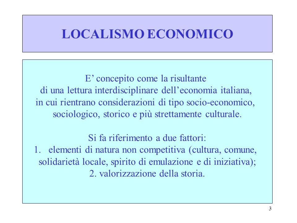 4 CARATTERISTICHE PRINCIPALI DEL LOCALISMO ECONOMICO: - stretto legame culturale e storico con le realtà locali; - formazione di sistemi di imprese con diverso grado di specializzazione e di parcellizzazione dellattività produttiva.