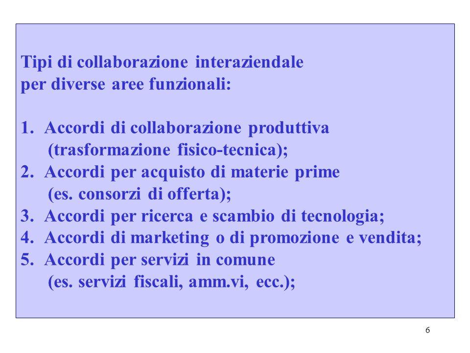 7 La collaborazione interaziendale si realizza in modo diverso nelle differenti aree funzionali in ordine a due variabili: 1.