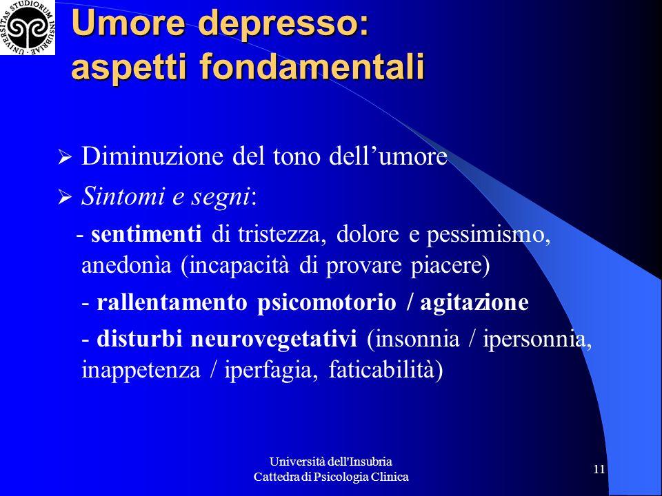 Università dell'Insubria Cattedra di Psicologia Clinica 11 Umore depresso: aspetti fondamentali Diminuzione del tono dellumore Sintomi e segni: - sent