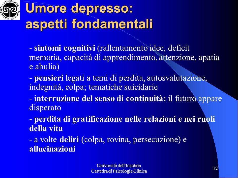 Università dell'Insubria Cattedra di Psicologia Clinica 12 Umore depresso: aspetti fondamentali - sintomi cognitivi (rallentamento idee, deficit memor