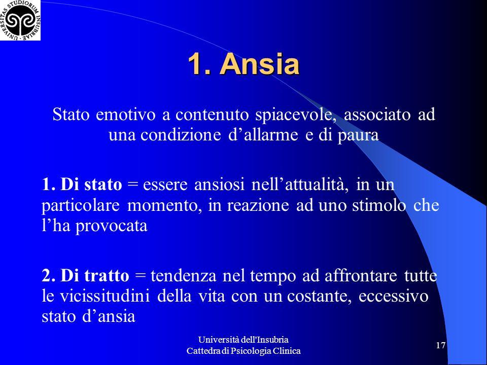 Università dell'Insubria Cattedra di Psicologia Clinica 17 1. Ansia Stato emotivo a contenuto spiacevole, associato ad una condizione dallarme e di pa