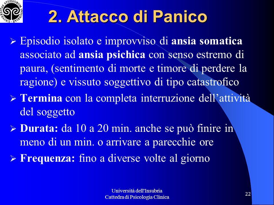 Università dell'Insubria Cattedra di Psicologia Clinica 22 2. Attacco di Panico Episodio isolato e improvviso di ansia somatica associato ad ansia psi