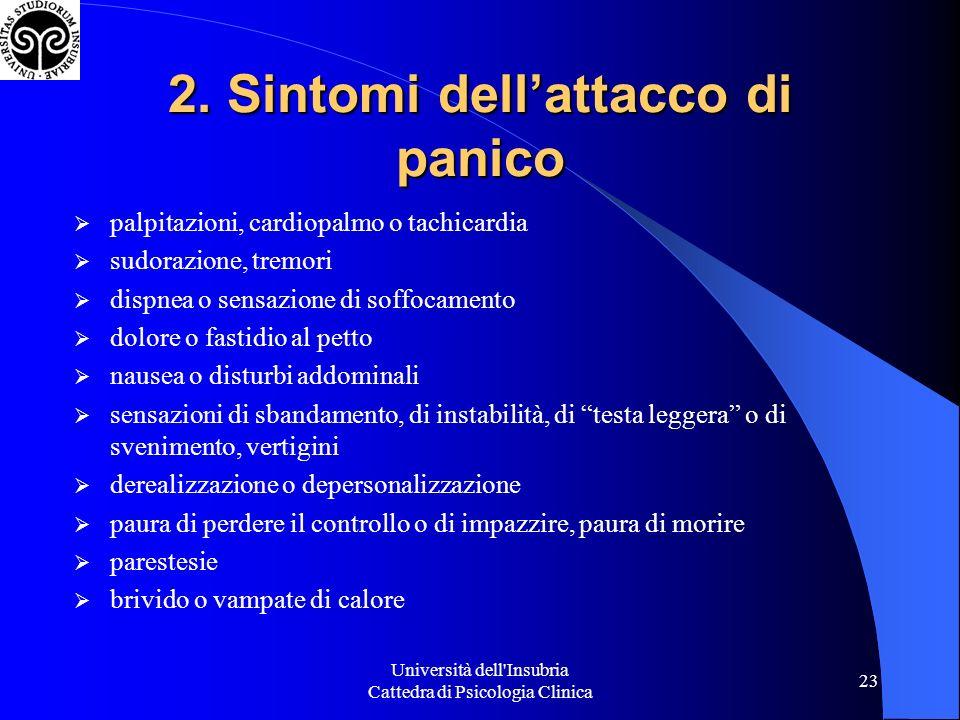 Università dell'Insubria Cattedra di Psicologia Clinica 23 2. Sintomi dellattacco di panico palpitazioni, cardiopalmo o tachicardia sudorazione, tremo