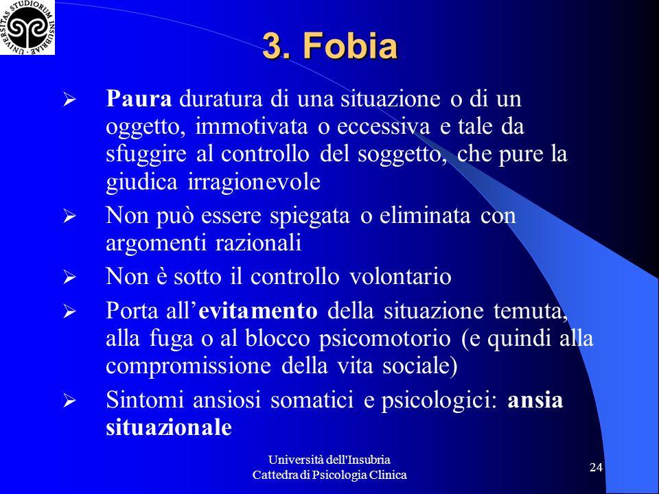 Università dell'Insubria Cattedra di Psicologia Clinica 24 3. Fobia Paura duratura di una situazione o di un oggetto, immotivata o eccessiva e tale da
