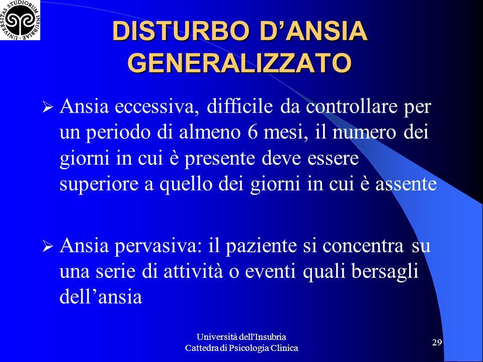 Università dell'Insubria Cattedra di Psicologia Clinica 29 DISTURBO DANSIA GENERALIZZATO Ansia eccessiva, difficile da controllare per un periodo di a