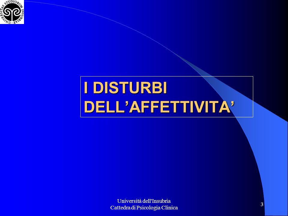 Università dell'Insubria Cattedra di Psicologia Clinica 3 I DISTURBI DELLAFFETTIVITA