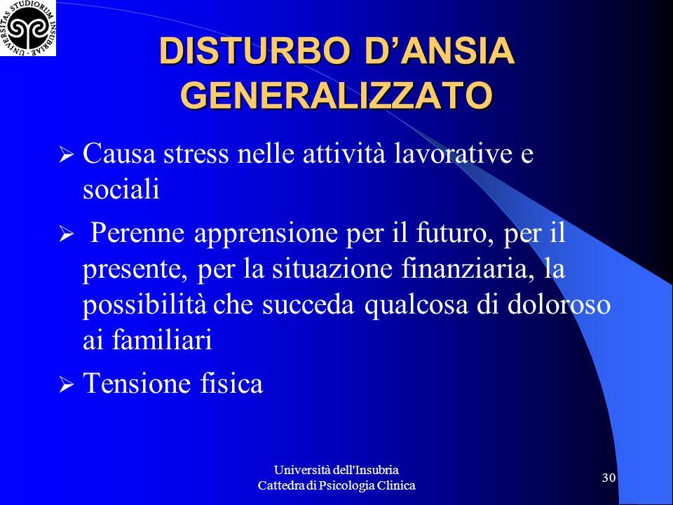 Università dell'Insubria Cattedra di Psicologia Clinica 30 Causa stress nelle attività lavorative e sociali Perenne apprensione per il futuro, per il