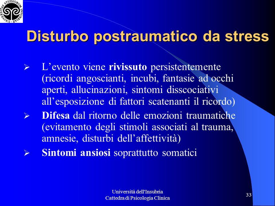 Università dell'Insubria Cattedra di Psicologia Clinica 33 Disturbo postraumatico da stress Levento viene rivissuto persistentemente (ricordi angoscia