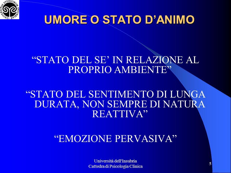 Università dell Insubria Cattedra di Psicologia Clinica 26 3.