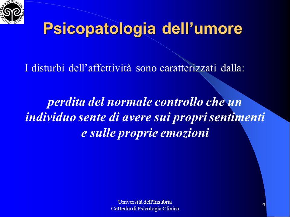 Università dell Insubria Cattedra di Psicologia Clinica 8 TONO DELL UMORE Alto IPOMANIA MANIA Normale Basso DISTIMIA DEPRESSIONE Psicopatologia dellumore