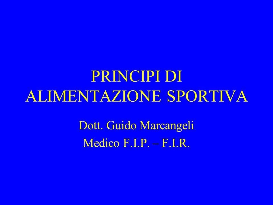 PRINCIPI DI ALIMENTAZIONE SPORTIVA Dott. Guido Marcangeli Medico F.I.P. – F.I.R.