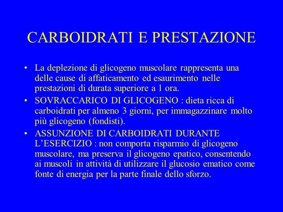 CARBOIDRATI E PRESTAZIONE La deplezione di glicogeno muscolare rappresenta una delle cause di affaticamento ed esaurimento nelle prestazioni di durata superiore a 1 ora.