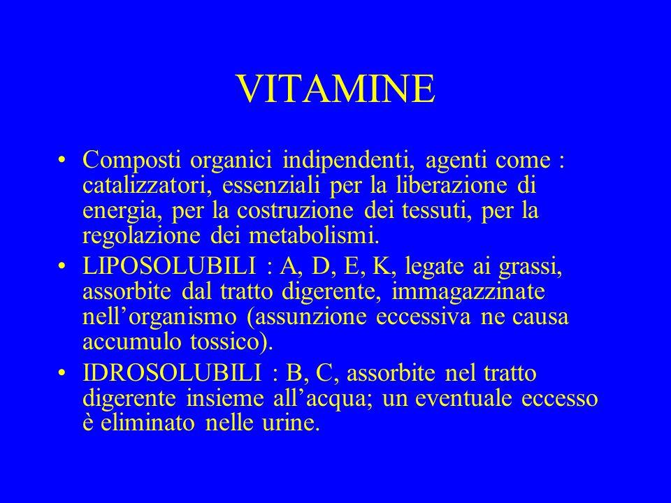 VITAMINE Composti organici indipendenti, agenti come : catalizzatori, essenziali per la liberazione di energia, per la costruzione dei tessuti, per la